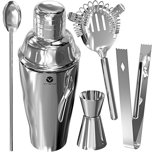 Vremi Stainless Steel Cocktail Shaker Set - 5 Piece Bartender Kit with Martini Shaker Strainer Jigger Shot Glass Stirring Spoon - Bartending Supplies Bar Tools Barware and Bartender Gifts Set - Silver