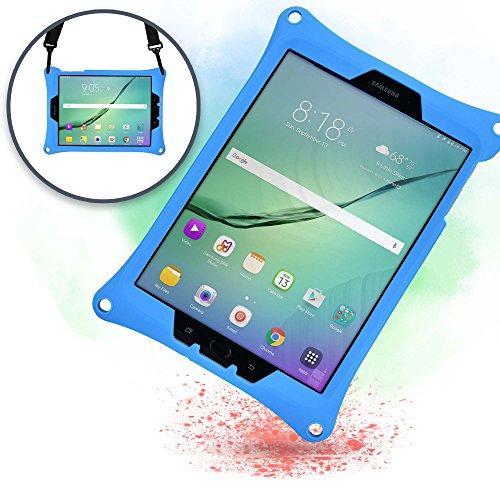 Funda para Samsung Galaxy Tab S3 9.7, [Funda Resistente de Mano con Correa] Cooper Bounce Strap Funda Todo en uno con Soporte Ajustable, a Prueba de caídas y Golpes - para niños y Adultos (Azul)