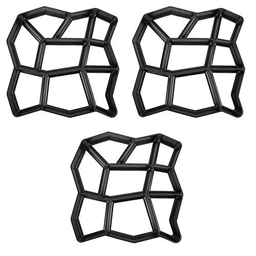 HENGMEI DIY Betonform Gehweg Form Gehwegen Schalungsform Gießform Pflasterform Schablone für Beton, Pflastersteine, Terrassenplatten (3 Stücke, Unregelmäßig)