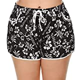 IN'VOLAND Women's Plus Size Floral Print Beach Shorts with Pockets-Quick Dry Summer Swimmwear Shorts Black
