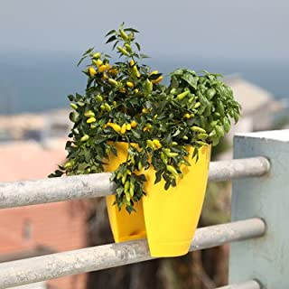 Minerva Naturals Balcony Railing Planter, Plastic (Yellow)