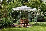 ELEO Florenz wunderschöner Gartenpavillon rund romantischer Rosenpavillon aus Metall I Durchmesser 3,7 m I Rundpavillon aus feuerverzinkten Schmiedeeisen I Pavillon für Garten