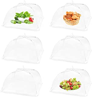(6 Pack) Large 17x17 Inch Pop-Up Mesh Screen Food Cover Tent Umbrella for Outdoor Camping, Picnics, Parties, BBQ, Collapsible and Reusable Food Net Cover Keep New Plant Away From Flies, Mosquitoes