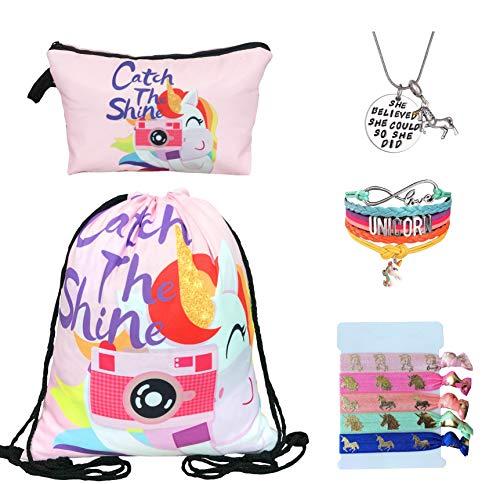 Unicorn Gifts for Girls - Unicorn Drawstring Backpack/Makeup Bag/Bracelet/Inspirational Necklace/Hair Ties 3