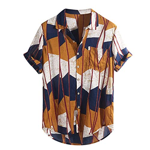 Dasongff heren overhemd, meerkleurig vrijetijdshemd patchwork contrast linnen shirt casual t-shirt button up blouse korte mouwen shirts vrijetijdsshirt M-XXXXL XX-Large geel