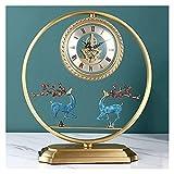 Tingting1992 Alarm Clock Table Clock New Chinese Style Light Luxury Living Room Clock Pendulum Clocks Home Desktop Clocks Home TV Counter Clocks Desk Clock (Color : B)