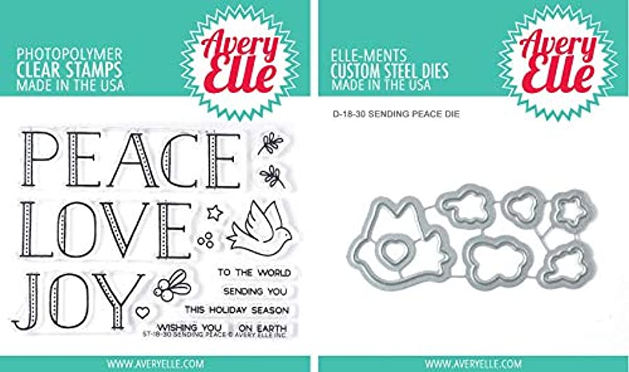 Avery Elle Sending Peace - Clear Stamp and Die Set - Two Item Bundle
