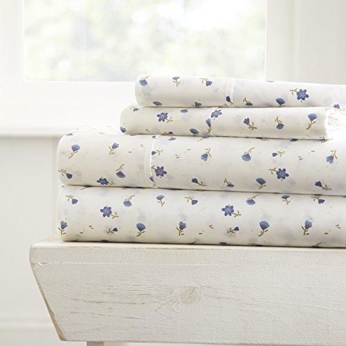 Simply Soft 4 Piece Sheet Set Patterned Full Soft Floral Light Blue