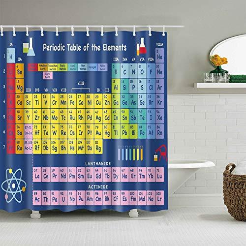 CHIPYHOME Cortina de baño/Ducha Azul con Tabla periodica de Elementos quimicos Muy Original Tanto para Friki Regalo como para Estudiantes