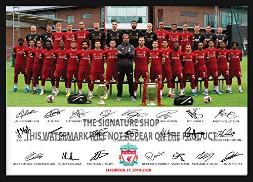 The Signature Shop Liverpool Full Squad Team Autogramme, A4 Foto-Druck, Autogramm, Trikot, Geschenk, Weihnachten, Geburtstag, für Saison 2019-2020 (nur Poster)