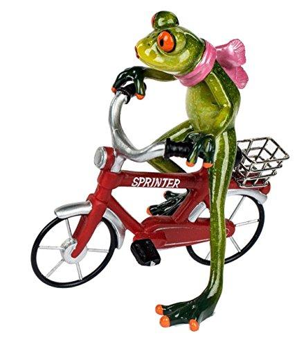 Dekofigur lustige Froschfrau auf einem Fahrrad, grün rot, 16x17 cm