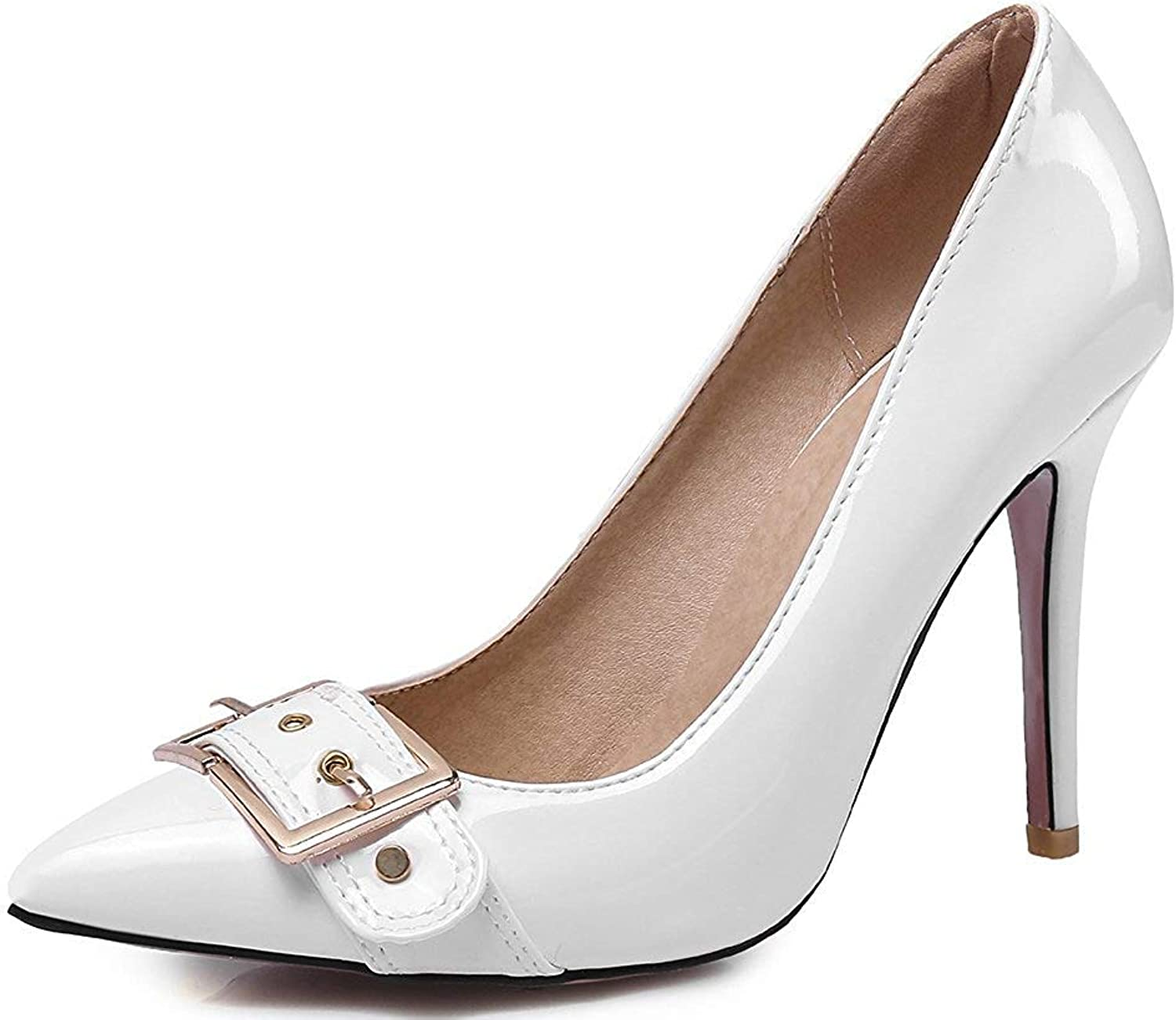 Ghapwe Women's Classic Pointy Toe Stiletto High Heel Slip On Pumps shoes White 7.5 M US