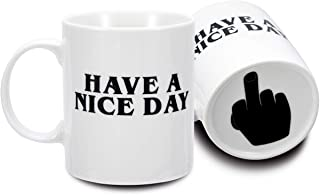 FLY SPRAY Coffee Mug Funny Cup Ceramic Have A Nice Day Middle Finger on the Bottom Porcelain Novelty Unique Creativity Drinks Cup For Juice Milk Or Tea 11 oz White