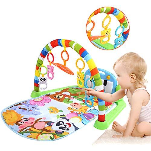 Lekfilt, musik äventyr filt lekmatta lek filt spegel krypande filtar med mjuk lekbåge och piano för 0-18 månader barn tidig utbildning 75 x 63 x 45 cm
