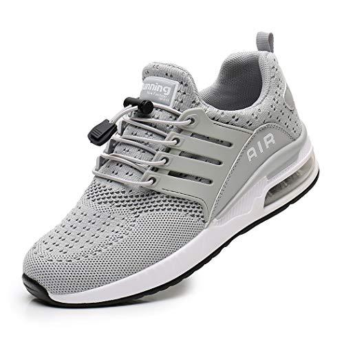 Zapatillas de Deporte Hombre Mujer Ligero Zapatos para Correr Respirable Running Bambas Calzado Deportivo Andar Crossfit Sneakers Gimnasio Casuales Fitness Outdoor Antideslizante Grey35