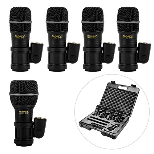 Nady DMK-5 Five Piece Drum Microphone Kit - Includes four DM-70 tom/snare microphones, one DM-80 kick drum microphone, and a foam-lined storage case