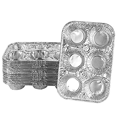 Plasticpro Aluminum Foil Muffin Pans Reusable and Disposable, Holds 6 Cupcakes / Muffin & Pie foil Pan Pack of 20