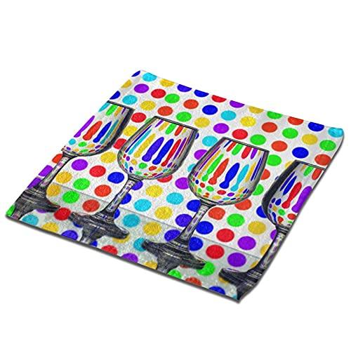 Taza de cristal imagen toalla cuadrada paño de cocina absorbente toalla de mano moderna paños de secado rápido toallas de plato