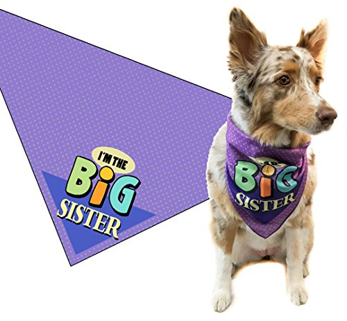 Stonehouse Collection I'm The Big Sister Dog Bandana - Med to Large Dogs - I'm The Baby Sister - Great Dog Gift Idea