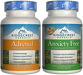 Ridgecrest Herbals Adrenal Fatigue Fighter and Anxiety Free Bundle with Asian Ginseng Root, Holy Basil Extract, and Lemon Balm, 60 capsules each