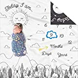 Double Sided Monthly Baby Milestone Blanket- Month Blanket for Baby Pictures   Photo Blanket with Baby Photo Props   Monthly Blankets for Newborns   Baby Boy Girl Milestone Blanket (Black and White)