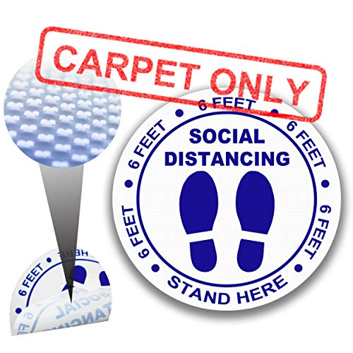 Social Distance Floor Stickers for CLOSED LOOP CARPET ONLY [12 pack], 8' Round Reusable Social distancing Sign Floor Markers,Anti-Slip 6ft Apart Carpet Spots-Blue…