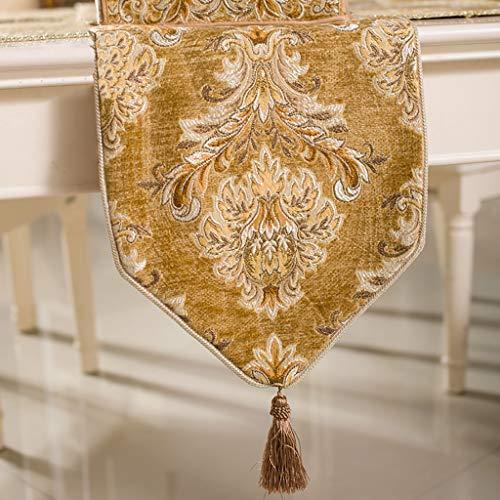 WENJUN Tafelloper Klassieke Tafelloper, Moderne Luxe Jacquard Damask Bloemen Tafellopers En Dressoir Sjaals Met Multi-kwasten,3 Kleuren