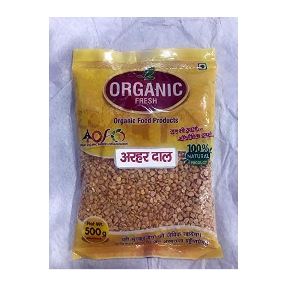 100% Organic Toor Dal - Arhar Dal - Split Pigeon Pea ( Unpolished ) - 500 g (Pack of 2)