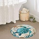 Uphome Round Bathroom Rugs 2-ft Sea Turle Foam Bath Mat Non Slip Flannel Coastal Navigation Map Bath Rug for Shower Floors, Summer Ocean Life Bathroom Decorations