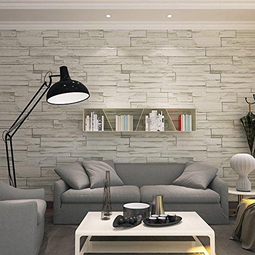 Hannero, carta da parati in mattoni, stile rurale, effetto murale, effetto murale, 21 x 400 cm, in vinile PVC, 3D, grigio, per soggiorno, camera da letto, arredamento grigio chiaro QZ0106