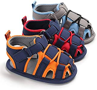 PanGa Baby Boys Girls Summer Sandals Soft Sole Non-Slip Beach Breathable Athletic Closed-Toe First Walkers Shoes (12-18 Months Infant, red-Navy)