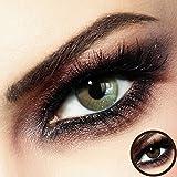 Farbige PREMIUM Kontaktlinsen - FIDELIO Beige-Brown - Silikon Hydrogel - 0.00 DPT (MIT und OHNE Stärke) - Monatslinsen von LUXDELUX® + GRATIS BOX -