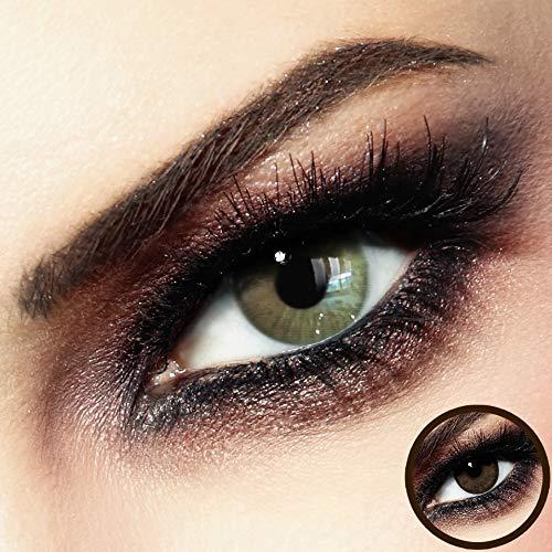 Farbige PREMIUM Kontaktlinsen - FIDELIO Beige-Brown - Silikon Hydrogel - 0.00 DPT (MIT und OHNE Stärke) - Monatslinsen von LUXDELUX® + GRATIS BOX