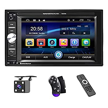UNITOPSCI Car Multimedia Player Double Din Bluetooth Audio and Calling 6.2 Inch LCD Touchscreen Monitor MP5 Player WMA USB SD Auxiliary Input FM Radio Receiver Rear View Backup Camera