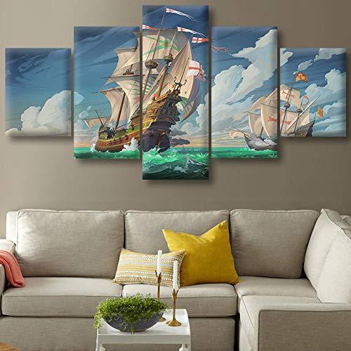 Leinwand HD Drucke Bilder 5 Stück Kreuzritter Segelbilder Home Wandkunst Dekor Poster 40x60cm 40x80cm 40x100cm Ungerahmt