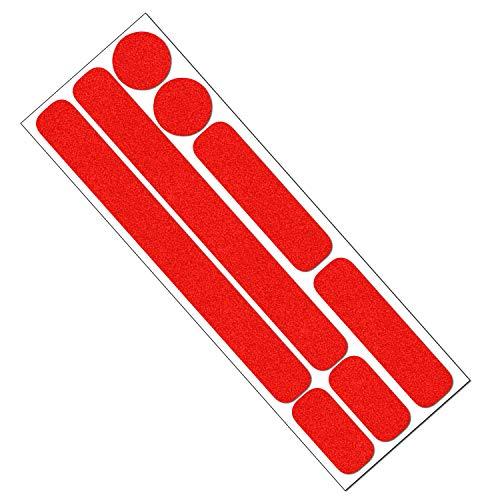 Reflektor Aufkleber Set für Fahrrad, Helm, Anhänger oder Laufrad, reflektierende Aufkleber (rot)
