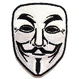 Ecusson - V For VENDETTA Anonymous - blanc - 6.5x8.5cm - patches brode appliques...