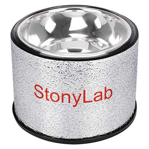 stonylab Frasco de Dewar, Matraz de Dewar de Vidrio Borosilicato Hemisférico con Base de Aluminio, Profundidad Interior de 90 mm y Diámetro Interior de 124 mm, Dewar Flask para Laboratorio - 500 ml