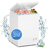 WATOOR 3.5 Cu.ft Chest Freezer Small Deep Freezer Mini Outdoor Chest Freezers Upright with 2 Removable Baskets 7 Temperature Settings White