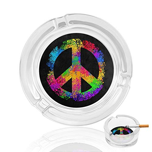 Hippie Stylish Colorful Peace Sign Cigar Ashtray Glass Tray And Cigar Holder, Cigar Slot Tray, Cigar Accessory Great Gift For Men Man Women,Great Decor For Home, Office Or Bar