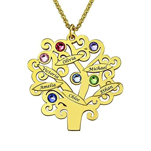 Collar con nombre grabado y piedra natal colgante de árbol genealógico personalizado collar con nombre cumpleaños para mamá(Dorado 22)