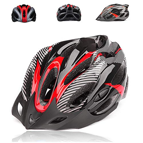 Casco da bicicletta, mountain bike, casco da bicicletta, da adulto, regolabile, con visiera rimovibile, per mountain bike, con corpo in EPS + guscio in policarbonato, per uomini e donne (rosso)