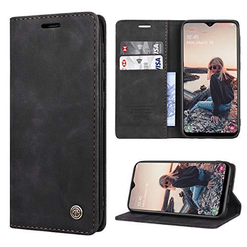 RuiPower Kompatibel für Samsung Galaxy A20E Hülle Premium Leder PU Handyhülle Flip Hülle Wallet Lederhülle Klapphülle Klappbar Silikon Bumper Schutzhülle für Samsung A20E Tasche - Schwarz