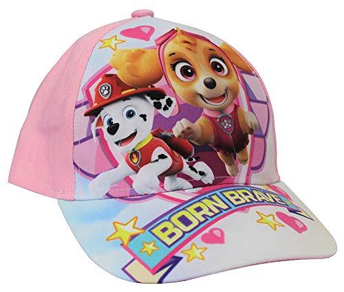 Paw Patrol Kappe Born Brave mit den Welpen Skye und Everest, Kappy, Baseballcap, Schirmmütze für Kinder mit Hundemotiv (54, Rosa)