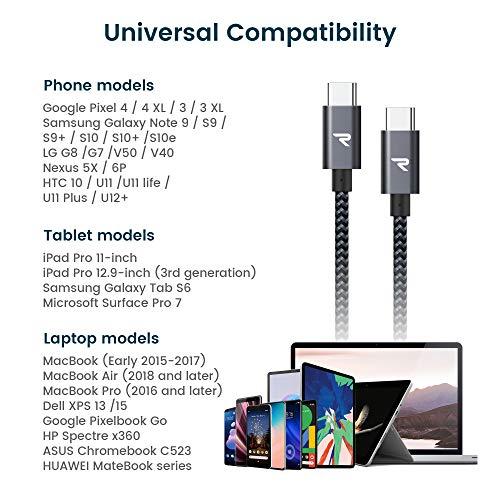 RAMPOW USB C auf USB C Kabel, USB Typ C Kabel, 2M, 60W 20V/3A PD Schnellladekabell mit Nylon Geflochtenes für MacBook Pro, iPad Pro, MacBook Air, ChromeBook Pixel, Galaxy S20/S10, Huawei P30 - Grau