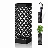 NEX Umbrella Holder, Metal Umbrella Stand Rack with Drip Tray and Hook Square for Home Store Decorations, Black