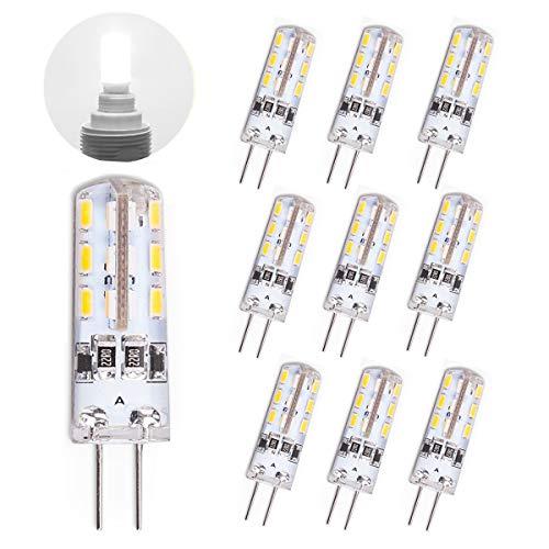 TOSHIN 10er G4 LED Lampe Birne, 1.5W (10W Halogen Äquivalent), DC 12V, 110 LM, 24x SMD3014, 6000K Kaltweiß