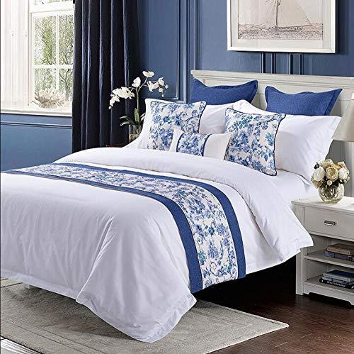 CWJLWY Corredor De La Cama Hotel Dormitorio Cama Bandera Chino Clasico Azul Y Blanco Jacquard Cama Cola Toalla Ropa De Cama Ropa De Cama Ropa De Cama45X240Cm De Cama para Proteccion