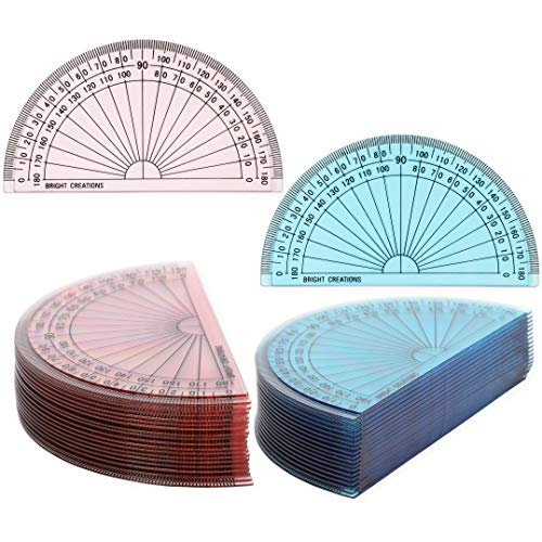 Plastic Math Protractors for Kids, 180 Degrees (4 in, 2 Colors, 36 Pack)