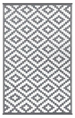 Green Decore Wendbarer Öko-Teppich aus recyceltem Kunststoff (Plastik) für Innen und Außen/Federleicht - 180 x 270 cm Grau/weiß